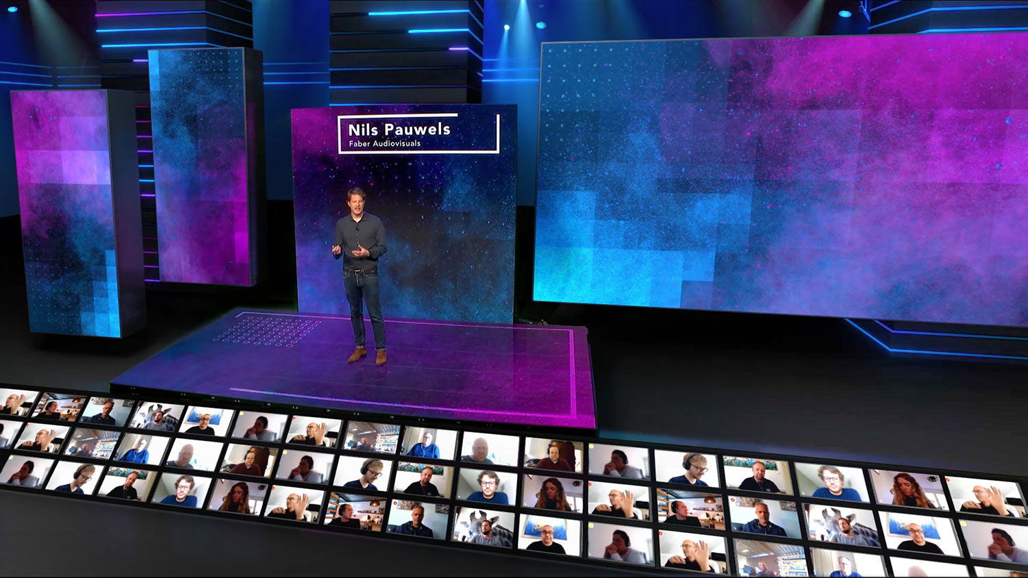 Virtual event studio with live audience